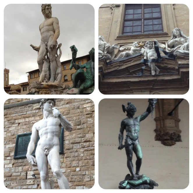 Huge statues are in the piazzas, including a replica of the David in Piazza Signoria.