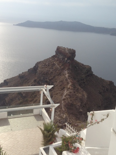 A closer look at Skaros Rock from one of the resorts. Notice the trails. People climb Skaros to watch the sunset. Very tiring but they say it's worth it.
