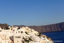 Santorini's famous white houses hanging on the cliff