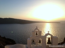 I love the silhouettes of Santorini's churches during sunset
