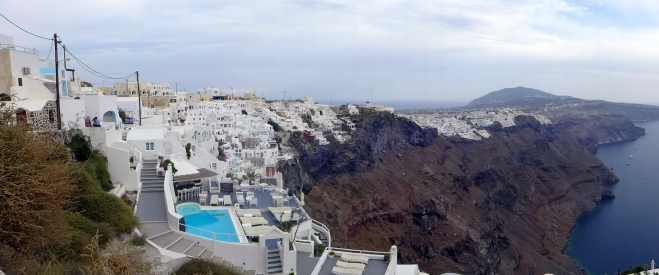 ...with pretty white buildings perched on the cliff